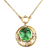 Vintage Art Deco signed JJ White multicolor gold filled green peridot glass pendant necklace