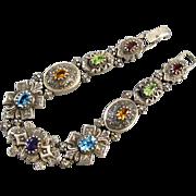 SOLD MASSIVE Modern estate 46 gram sterling silver jeweled slide bracelet