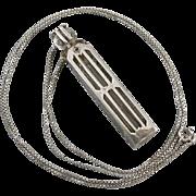 Antique Edwardian sterling silver signed Blackinton vinaigrette perfume bottle pendant necklac