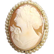 Vintage cameo seed pearl brooch pin pendant signed Cheever Tweedy and Company