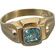 Vintage Art Deco 10k gold simulated glass blue zircon ring size 5