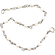 Delicate sterling silver seed pearl vintage rosary bead conversion bracelet