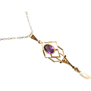 Vintage estate 10k gold glass amethyst paste lavalier pendant necklace with fresh water pearl