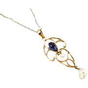 Antique Edwardian 10k gold filigree glass sapphire paste and pearl lavalier pendant necklace .