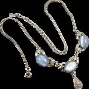 Signed Michallef AMCO vintage sterling silver blue glass moonstone necklace