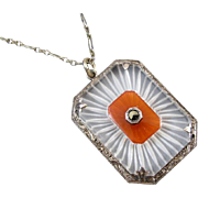 Vintage Art Deco camphor and carnelian glass marcasite sterling silver necklace pendant