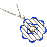 Vintage Art Deco sterling silver cobalt blue guilloche enamel pearl pendant necklace