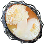 Antique Edwardian sterling silver filigree cameo brooch pin
