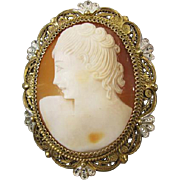 Antique Edwardian heavily gilt 800 silver cameo brooch pin pendant