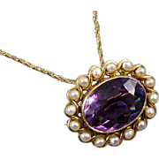 Antique Edwardian 14k gold 7.87 carat amethyst pearl pendant brooch pin signed Henry Blank and