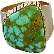 Vintage Southwest Native American Indian 14k gold wide cigar band ring with large turquoise in