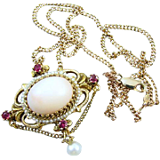 Vintage estate 14k gold pink angel skin coral garnet pearl chained festoon pendant necklace br