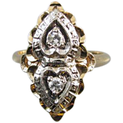 Vintage Art Deco 14k white and yellow gold diamond hearts PINKY or MIDI ring