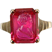 Vintage Art Deco 10k gold red ruby glass Flapper Girl with bobbed hair cameo ring, size 6-1/4