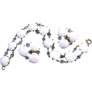 Vintage signed Hattie Carnegie white milk glass and sapphire bracelet and clip earrings demi p
