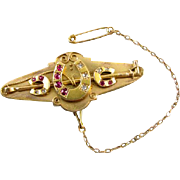 Antique mid Victorian 14k gold ruby and diamond equestrian horse shoe riding crop locket back