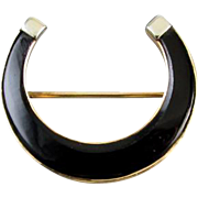 Antique Edwardian 14k yellow and white gold black onyx horse shoe horseshoe equestrian brooch