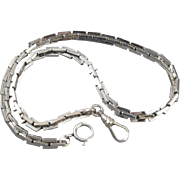 Huge chunky vintage white gold filled pocket watch chain signe Lestage