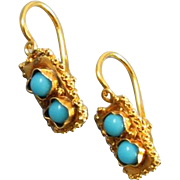 Antique Victorian 18k gold Persian blue turquoise tiny reverse lever back pierced earrings