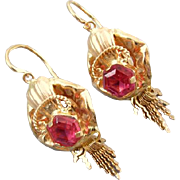 Clam shell and fringe .800 19k pink gold Portuguese earrings red ruby pastes reverse lever bac
