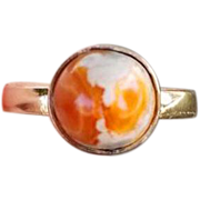 Vintage estate 14k gold fire opal in matrix hand crafted organic ring size 5.5