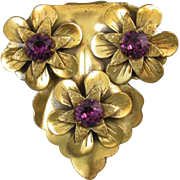 Large vintage Victorian Revival brass purple amethyst paste floral dress clip