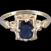 Vintage Art Deco 10k blue sapphire ring signed House of Kraus