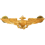 Vintage Vietnam Era gold filled US Navy Pilot full size military wings double clutch back ...
