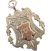 13.1 gram Antique Victorian English Birmingham sterling silver and rose gold fob for pocket ..