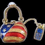 Modern estate enamel patriotic purse handbag charm with cell phone pearl USA American flag ...