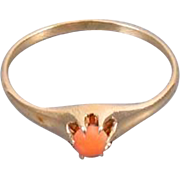 Antique Victorian coral 10k rose gold pinky ring midi ring baby ring stacking ring knuckle ...