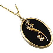 Vintage black lily of the valley seed pearl mourning locket necklace memento mori gold filled