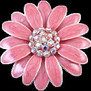 Vintage pink enamel aurora borealis crystal rhinestone flower brooch pin signed TC Tanya ...