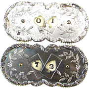 Pair of antique Edwardian silver plated gaming playing card poker rotating score keeper ...
