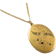 Antique Victorian 1903 gold filled rhinestone paste locket pendant necklace founded 1874 signe