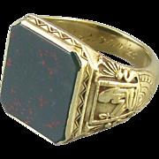 Insanely rare Art Deco 14k green gold Egyptian King Tut mans bloodstone ring signed Larter ...