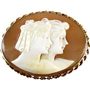 Antique Edwardian 10k cameo brooch pin pendant