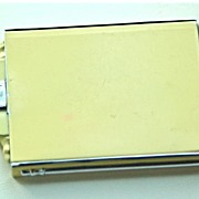 """Cream Colored  Enamel and Chrome Compact, """"Premier by Evans"""" Made in Austria"""