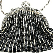 SALE Antique Victorian Black Seed Bead and German Silver Ornate Frame Bag, Purse