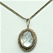 SALE Early 800 Silver Mother of Pearl Cameo Necklace