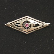 Victorian Gold Filled Pin With Ruby, Intricate Metal Work