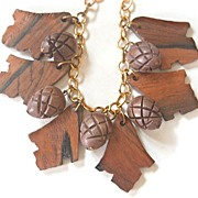 SALE Early Chunky Deep Carved Wood Acorn and Leaf Dangling Necklace