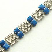 SALE Early Signed CZECHOSLOVAKIA Blue Faux Lapis Glass and Rhodium Plate Bracelet