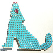 SALE Signed DOROTHY BAUER Turquoise Colored Rhinestone Howling Coyote Wolf Pin