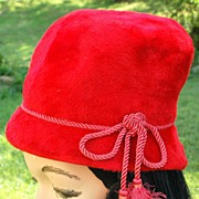 SALE Vintage Cherry Red Cloche Felted Fur Hat With Tassels