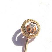 SALE Victorian Era 14K Yellow Gold And Diamond Stick Pin