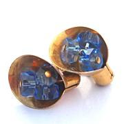 Early STERLING SILVER Vermeil Screwback Earrings, Blue Glass Centers