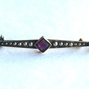 Hallmarked Victorian 10K Gold Pin With Seed Pearls and Amethyst Stones