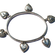 SOLD RARE Victorian Puffy Heart Sterling Rigid Bangle Bracelet, 6 Puffy Hearts