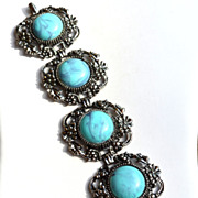 Oversized Faux Turquoise Glass Stone and Silver Toned Metal Super Wide Bracelet